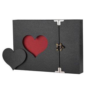 Photo Album A4 DIY Scrapbook Vintage Love Heart Black Pages Present Anniversary Wedding Gift Scrapbooking Album Kits Photoalbum 210330