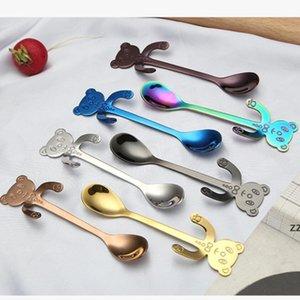 Creative Cartoon Spoon Stainless Steel Gold-plated Panda Coffee-Spoon Cute Hanging Stirring-Spoon Short Handle Dessert Spoons HWF10456