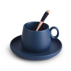 Caneca de café elegante do café do café do cappuccino da cor do macaron com a bandeja da colher de madeira da colher de madeira Café Nespresso Taza Gato Koffie Beker 1174 v2