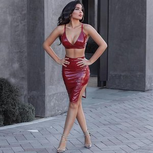 Women's Tracksuits Women 2 Piece Mini Dress Shiny PVC Bodycon Strap Top Side Split Skirt Suits Patent Leather Party Nightclub Sexy Sets