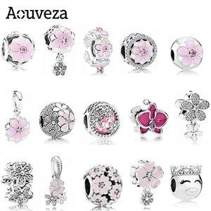 Aouveza Style Rose Fleur Charm Perlé Fit Fit Pandora Charms Argent 925 Bracelet DIY Femmes Bijoux