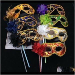Mask Mens Women Halloween Venetian Masquerade Handheld Party Feather Floral Sexy Carnival Prom Masks Mixed Colors Bh2045 Vjpn5 Y08On