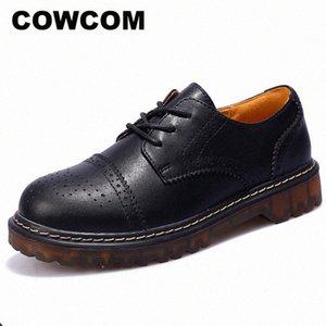 Cowcom Plus Velvet Petite Cuir Chaussures Femmes Britannique Vent Chaussures rondes College College Soft Casual Shoe FJM S9MB #