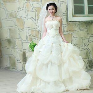 Strapless Ball Gown Sweep Train Gowns Sweet Appliques Wedding Dress 2019 Vestido De Noiva