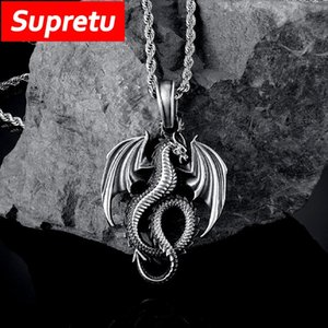 Retro Vikings Evil Dragon Pure Tin Pendant Necklace Men Women Antique Black Steel Chain Charm Gothic Jewelry Gifts Drop Necklaces