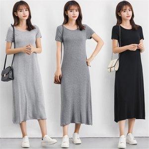 Modal Knitted Summer Dress Solid Short Sleeve O-Neck Casual T-shirt Dress Fashion Plus Size Loose Long Vestidos Maxi Beach Robe 210406