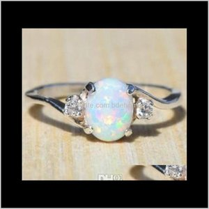 Solitaire Engagement Rings Promise Fashion Gemstone Ring Exquisite Womens Oval Cut Fire Opal Diamond Jewelry Birthday Proposal Nadsf Jmfq5