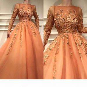 2019 New Arrival Orange Sheer Long Sleeves Formal Evening Dresses With Lace Appliques A Line Tulle Long Prom Gowns Celebrity Party Wear