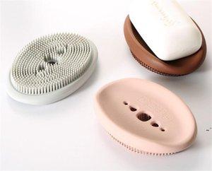 Suporte de sabão de silicone de fábrica com escova de limpeza macio utensílio descanso esponjas de esponja organizador de cozinha armazenamento antiderrapante owb5985