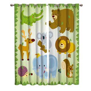Curtain & Drapes Cartoon Lion Zoo For Kids Room Bedroom Window Boys Colorful Cortinas