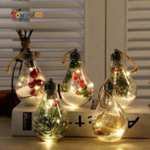 LED Transparent Christmas Ornament Christmas Tree Decoration Pendant Plastic Bulb Ball Home Decor Birthday Gift New Year Gifts