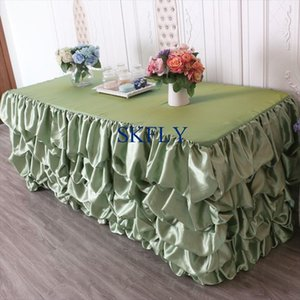Table Cloth SK002E Gorgeous Wedding Birthday 6ft Rectangle Ruffled Green Satin With Top