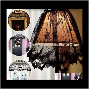 Other Festive Halloween Lamp Shade Black Lace Ribbon Spider Web Lampshades Fireplace Cover Widonw Decaration Party Indoor Decor Suppli Hqcgf
