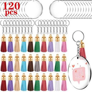 120Pcs Acrylic Keychain Blank 2 Inch Clear Circle Discs with Hole Tassel Pendant Key Rings Bag Ornament for DIY Craft Supplies