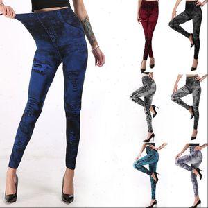 Women Legging Leggings Jeans Faux Denim Pants Slim Jeggings Fitness S 3XL Woman Sexy High Waist Stretchy Cloth