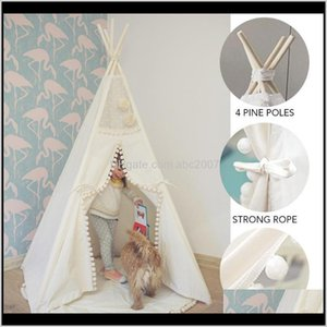 Shelters Camping Hiking Sports Outdoors Drop Delivery 2021 Teepee Tent Kids Foldable Children Play Tents For Girls Boys 100Percent Cotton Can