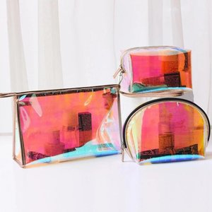 Pc Clear Laser Women Cosmetic Bag PVC Waterproof Makeup Travel Make Up Storage Organizer Beauty Case Toiletry Bags & Cases