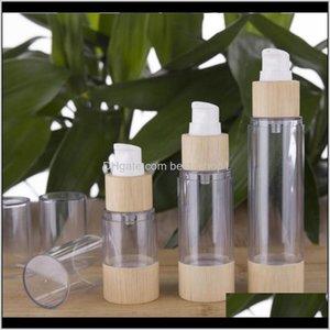 Storage Jars Ecofriendly Bamboo 20Ml 30Ml 50Ml 80Ml 100Ml 120Ml Empty Airless Vacuum Pump Bottles For Makeup Serum Lotion Skin Care Sg Pazu8
