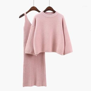 Autumn Womans Sweater + Straped Dress Sets Solid Color Female Casual Two-Pieces Suits Loose Sweater Knit Mid Dress Winter11
