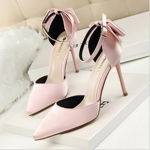 Plus size 34-43 Women Pointed Toe Pumps Dress Shoes High Heels Boat Shoes Wedding Shoes tenis feminino Side with Bow