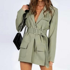 Women's Trench Coats 40%Women Fashion Polyester Solid Color V-neck Long Sleeve Waist Slimming Warm Coat