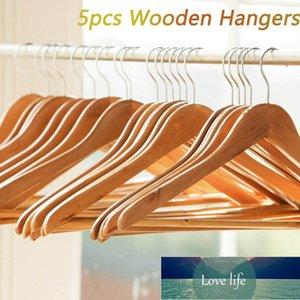 5Pcs Non-Slip Wooden Hangers For Adult Suit Garments Clothes Jeans Pants Coat Dress Drying Racks Holder Home Storage