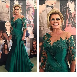 Dark Green Mermaid Long Sleeves Applique Crystals Sexy Mother Of The Bride Dresses For Wedding Women Evening Dress