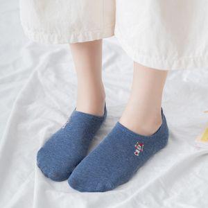 Children's Animal Embroidery Invisible Silicone Women's Boat All Cotton Socks Panda Dog Rabbit Fox 528