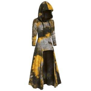 Womens Fashion Hooded Plus Size Vintage Cloak High Low Dress Tie Dye Casual Sweatshirt Dresses 2021 Long Sleeve Autumn