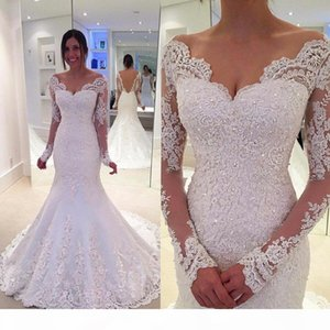 New Arrival Long Sleeve Mermaid Wedding Dresses 2019 V-Neck Backless Applique Beading Sweep Train Mermaid Bridal Gowns