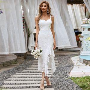 Full Lace Tea Length Bride Formal Party Gowns Side Split Sexy Short Wedding Dresses 2022 Spaghetti Sweetheart Robe De Soriee