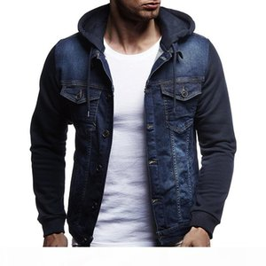 SHUJIN Men Fashion Denim Jacket Spring Autumn Hooded Jeans Patchwork Windbreaker Overcoats Mens Casual Coats Plus size 3XL