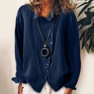 2020 New Women Cotton Linen Blouse Shirts Autumn Turn-down Collar Button Open Stitch Top Elegant Long Sleeve Solid Blouses