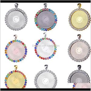 Necklaces 25 30 35Mm Custom Rould Memory Po Bling Rhinestones Pendant With Glass Alloy Jewelry Diy Accessories For Children Festival 6 P1Vlk