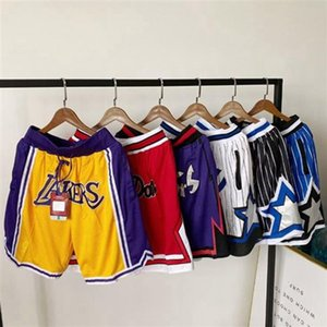 Teams Just Don Basketball Short Hip Pop Summer Running Sports Pant With Pocket Zipper Sweatpants Blue White Black Mens Stitched Size S-XXL