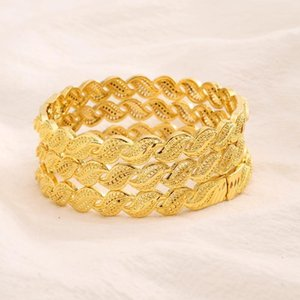Dubai Gold Bangles for Women Gold Dubai Bride Wedding Bracelet Africa Arab Jewelry Charm kids Bracelet gifts1