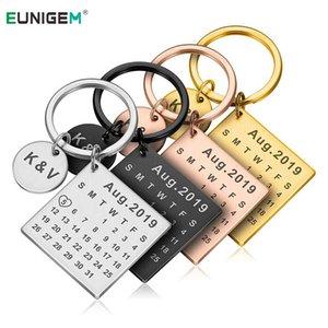 Llavero de DIY Llavero calendario personalizado Mano Tallado Calendario Llavero Llavero para su novio Novia Privado