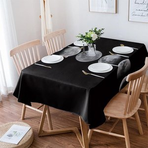 Table Cloth Full Moon Phase Black Waterproof Dining Tablecloth For Kitchen Decorative Coffee Cuisine Party Cover