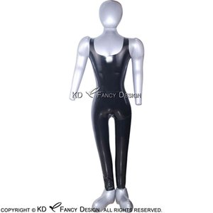 Black Sleeveless Sexy Latex Catsuit With Back Zip Round Collor Rubber Bodysuit Overall Zentai Body Suit Plus Size 0020