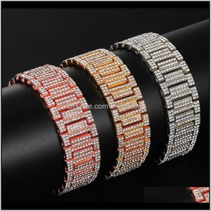 Bangle Drop Delivery 2021 Hip Hop Full Rhinestones Iced Out Bling Gold Sier Watch Band Link Chain Bracelets Bangles For Men Rapper Jewelry P2