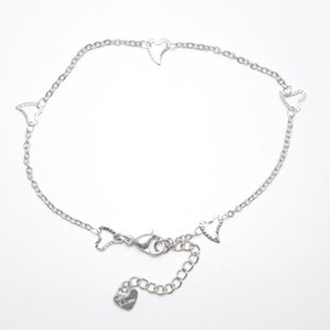 Anklets 304 Stainless Steel Anklet Women Jewelry Silver Color Heart Foot-chain For Summer Beach Barefoot Decoration, 1 Piece