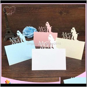 Greeting Cards Bhl 40Pcs Bride And Groom Laser Cut Place Name Card Wedding Party Table Decoration Mr Mrs Love Heart Design1 Mrqsv Laux0
