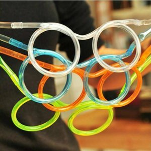 1pcs Funny Soft Plastic Glasses Straw Unique Flexible Drinking Tube Kids Party Bar Accessories Beer Colorful Homebrew Kawaii Straws