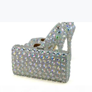 AB Crystal Women High Heel Shoes with Clutch Wedding Party Prom Shoes Matching Bag Beautiful Cinderella Prom Pumps Plus Size
