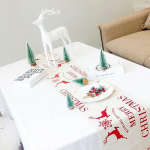 Table Cloth Christmas Printed Tablecloth Red Elk Decoration Home Garden