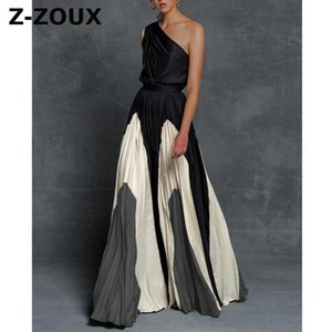 Z-ZOUX Women Dress One Shoulder Color Matching Maxi Dresses High Waisted Long Pleated Bohemian Dress Plus Size Ladies Dresses