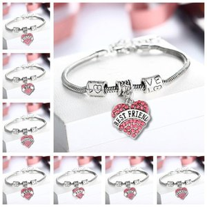 Friend Sister Birthday Mum Rhinestone Bracelet Silver Heart Women Jewellery Charms Crystal Personalised Girls Gift Bangle