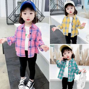 Baby Girl Blouse Plaid Pattern Children's Shirt For Girls Casual Style Kids Blouse For Girls Spring Autumn Kids Clothes Girls 210412