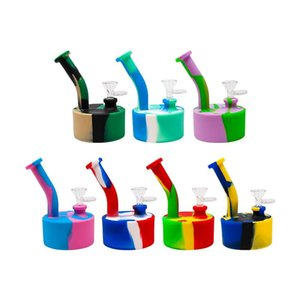 2021 portable 5inches Silicone Bong Water Pipes Removable recycler bong silicone dab rig for smoke unbreakable Color printing bongs