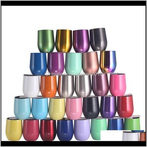 Thermoses 12Oz Tumbler Stainless Steel Cups Colourful Stemless Wine Glasses With Lid Shatterproof Vacuum Egg Shape Cokbg Vpwdk